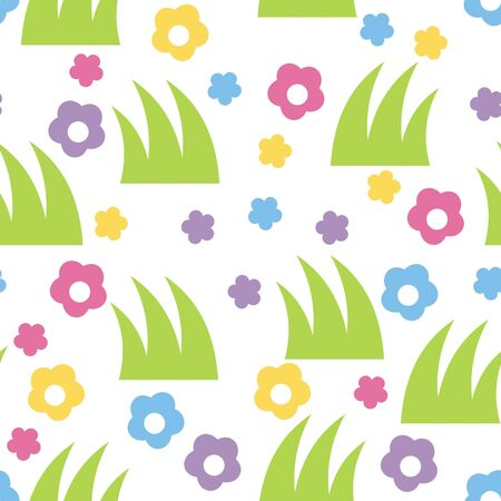 Seamless background, image flowers wits grass Stock Vector - 11029939
