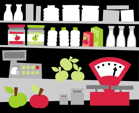 Showcase of the grocery store Illustration