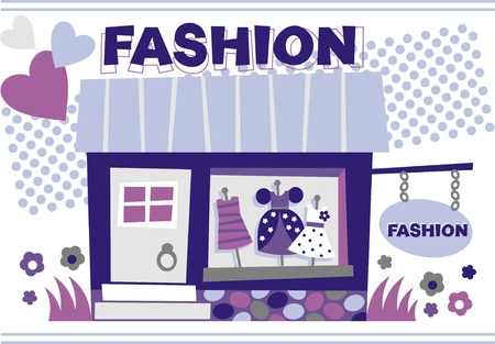 boutique shop: images of dresses in the window Illustration