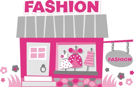Storefront. Small boutique - images of dresses in the window Vector