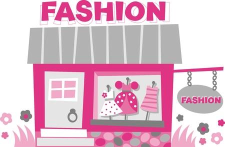 Storefront. Małe boutique - zdjęć z sukienki w oknie Ilustracja