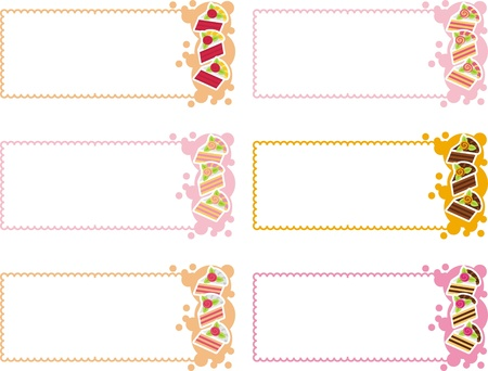 labels with a variety of cakes Vector