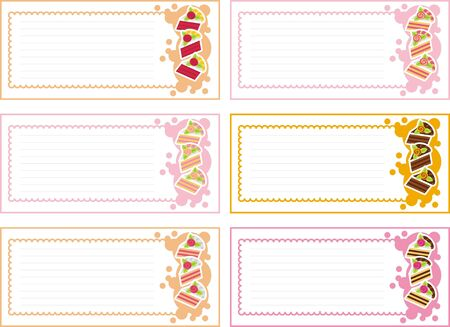 labels with a variety of cakes Stock Vector - 11377336