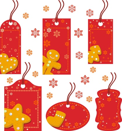 Christmas red tag with ginger biscuits Vector
