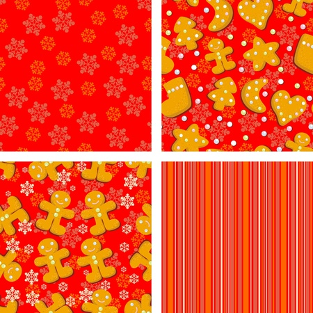 red Christmas backgrounds with ginger biscuits for design Vector