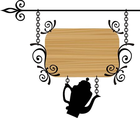 antique dishes: Wooden sign with place for text, vector illustration