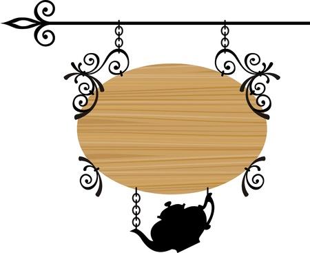 letrero: Signo de madera con lugar para el texto, ilustración vectorial