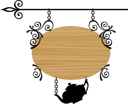 teapot: Wooden sign with place for text, vector illustration