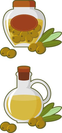 Composition. Concise picture bottle of olive oil and olives Illustration
