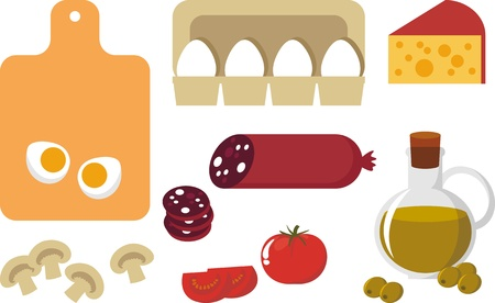 ingredient: Picture of food. Egg, cheese, sausage, champignon, tomato Illustration