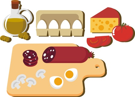 Picture of food. Egg, cheese, sausage, champignon, tomato Vector