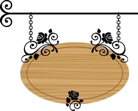 uithangbord: houten bord met vervalste elementen, vector illustratie Stock Illustratie