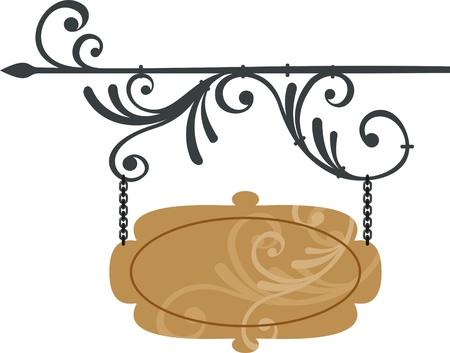 rejas de hierro: letrero de madera con elementos forjados, ilustración vectorial