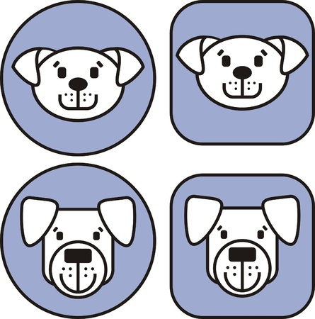 Icons from dogs of various breeds Vector