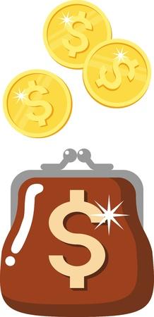 wallet - a symbol of money, wealth, prosperity Vector