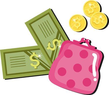billetera - un símbolo de dinero, la riqueza, la prosperidad Ilustración de vector
