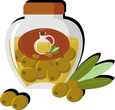 concise: Concise picture bottle of olive oil and olives Illustration