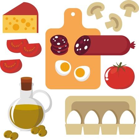 champignon: Picture of food. Egg, cheese, sausage, champignon, tomato Illustration