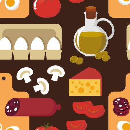 Seamless background. Food - the ingredients for pizza Stock Vector - 11494867