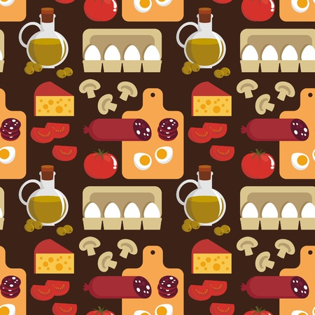 Seamless background. Food - the ingredients for pizza Vector