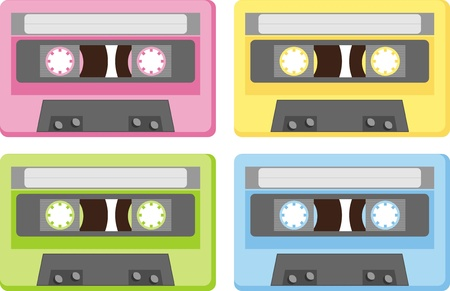 mono color: Audiocassette. This musical device - a symbol of the last century Illustration