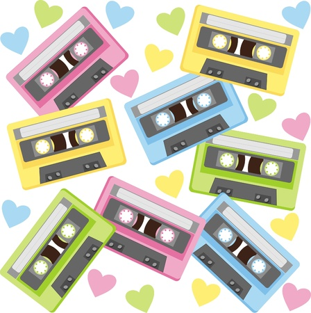 80's: Audiocassette. This musical device - a symbol of the last century Illustration