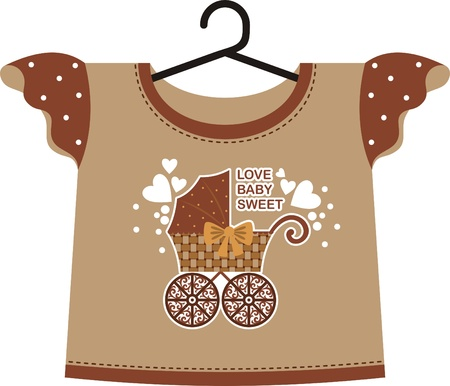 shirts on hangers: Brown T-shirt for a young child. Front depicts an old pram