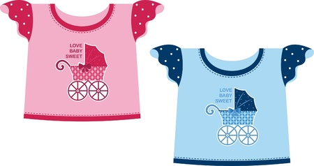 t shirt blouse: Blue and pink T-shirt for a young child. Shows the front carriage Illustration