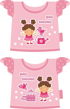 pink T-shirt for a young child. Front depicts a girl with a bird Vector