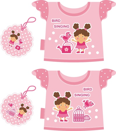 garment label: pink T-shirt for a young child. Front depicts a girl with a bird Illustration