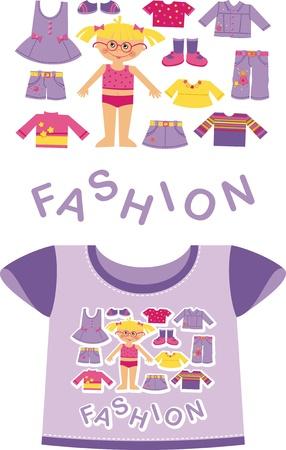 dress coat: Viola T-shirt per un bambino. Mostra la ragazza di fronte Vettoriali