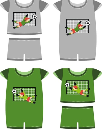 A set of clothes for the little boy. Picture soccer Vector