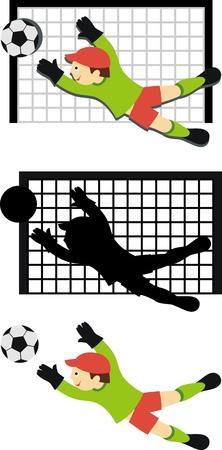 football net: Sign football. Shows a goalkeeper catching the ball