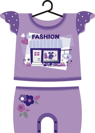 Lilac dress for little girls fashion. The kit includes a T-shirt and shorts Vector