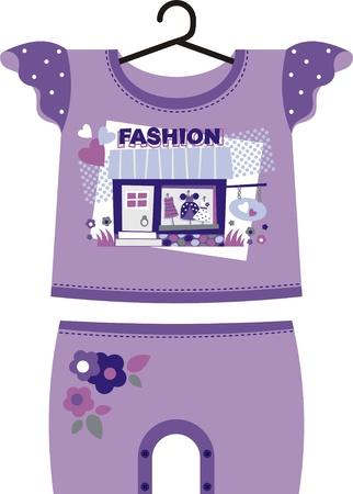 Robe lilas pour la mode des petites filles. Le kit comprend un T-shirt et des shorts Vecteurs