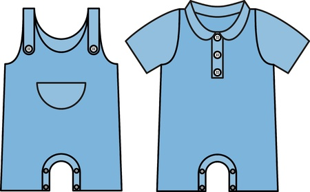 Image jumpsuit with an outline. Denim dress for baby Vector