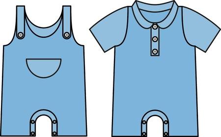 Image jumpsuit with an outline. Denim dress for baby Illustration