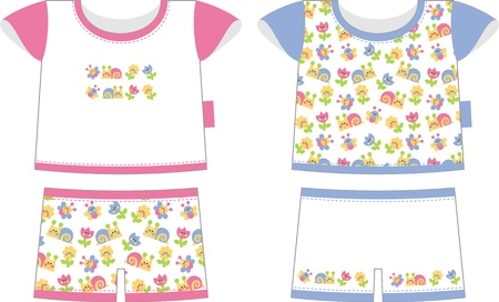 Two children set of clothes (for boys and girls) - blue and pink Vector