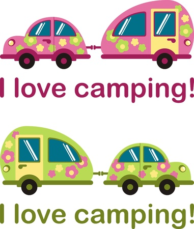 funny travel: I love camping. Sticker for the car. For hiking and camping Illustration