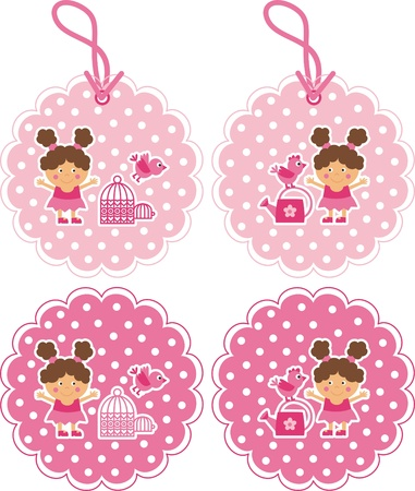 Girl with a watering can. Girl and bird. Tags for clothing Stock Vector - 12245047