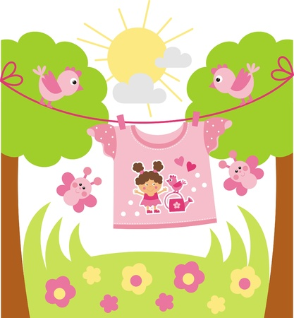 children of heaven: T-shirt drying on a rope. Birds fly around and butterflies Illustration