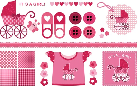 kids weaving: A set of images for the newborn girl. The red-pink color scheme Illustration