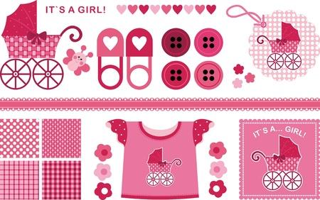 pram: A set of images for the newborn girl. The red-pink color scheme Illustration
