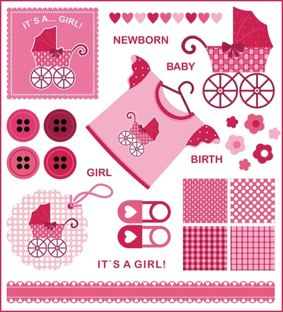 newborn animal: A set of images for the newborn girl. The red-pink color scheme Illustration