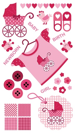 A set of images for the newborn girl. The red-pink color scheme Vector