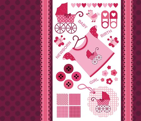 image. Set for the newborn girl. Album Page for scrapbookig Vector