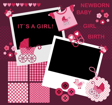 Vector image. Set for the newborn girl. Album Page for scrapbookig Vector