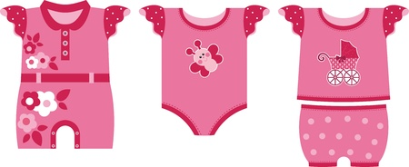 A set of nice clothes for the newborn girl. Red gamma Vector
