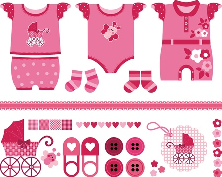 newborn animal: A set of beautiful things for the newborn girl.  Illustration
