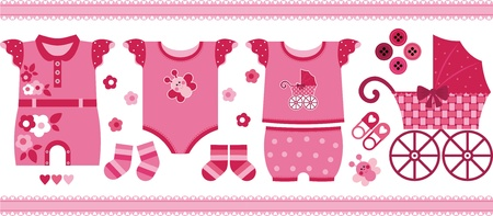 A set of beautiful things for the newborn girl Vector